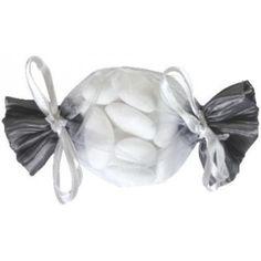 Sachet à dragées bonbon gris 15 cm les 6