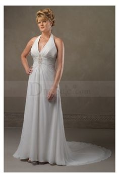 Newly Arrived Classic White Halter Empire Wedding Dress with Brooch Details