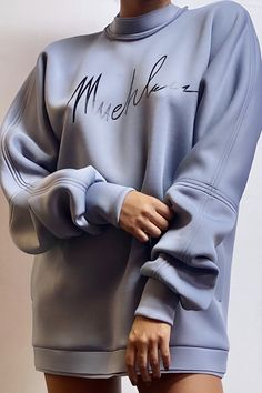 Muehleder Signature Sweatshirt Sweatshirt Dress, Graphic Sweatshirt, Patent Leather Pants, Chic Outfits, Fashion Outfits, Scuba Fabric, Printed Sweatshirts, Signature Logo, Comfortable Fashion