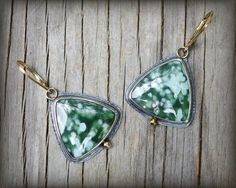 Stunning ocean jasper earrings in sterling silver with 14K gold accents - These one of a kind earrings are made with beautiful semi-transparent ocean