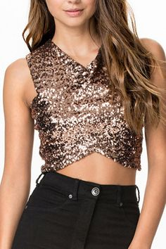 Women Gold Sequins Decor Crossed Sexy Crop Tank - S Gold Sequin Top, Sequin Crop Top, Sleeveless Crop Top, Gold Sequins, Gold Top, Sequin Skirt, Bachelorette Outfits, Crop Top Designs, Stylish Clothes