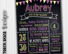 Ordering a custom birthday chalkboard is a great thing to have for your childs birthday or photo shoot! The ways of presenting your childs first birthday poster are endless: you could frame it, mount it on a foam board, or even print it on a canvas. This chalkboard is sized for 16 x 20  but can be resized for any size you want!  How to order:  Purchase listing and provide all of the following information in your order:  Your childs name & age: Choose 3-4 colors 4-8 things your child loves…