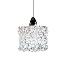 "WAC Lighting Haven Quick Connect 1 Light Pendant Shade Color: Black Ice, Size: 3"" H x 3"" W x 4"" D, Finish: Chrome"