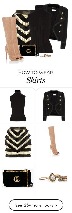 """""""Untitled #347"""" by tijana89 on Polyvore featuring Balmain, Yves Saint Laurent, Michael Kors, Gucci and Gianvito Rossi"""