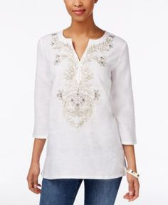 Charter Club Linen Embroidered Tunic, Only at Macy's   macys.com