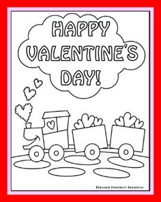 Choo Choo train Valentine coloring page for kids