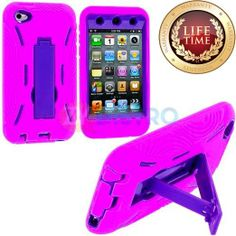 Amazon.com: myLife (TM) Hot Pink + Purple Tough Series (Body Armor Defender Glove) Case for iPod 4/4S (4G) 4th Generation iTouch (Built In K...