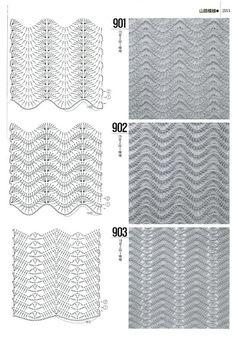DODA CROCHET: Tantissimi punti uncinetto con schema - Crochet stitch with patterns Chevrons Au Crochet, Crochet Ripple, Crochet Motif, Crochet Designs, Crochet Lace, Crochet Stitches Chart, Crochet Diagram, Knitting Stitches, Knitting Patterns
