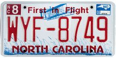 This is the official license plate for the state of North Carolina as it has been officially adopted by the state legislature. Also known as a vehicle registration plate, it is used to identify the car and owner of a motor vehicle or trailer in the state.