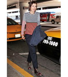 Agyness Deyn Punch up a pair of neutral trousers with color-blocked stripes