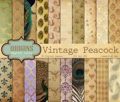Vintage Peacock Digital Paper by Origins Digital Curio on Creative Market