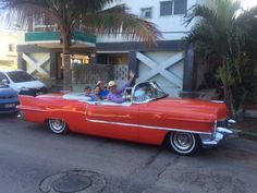 Guests doing a Havana Tour in a classic convertible!