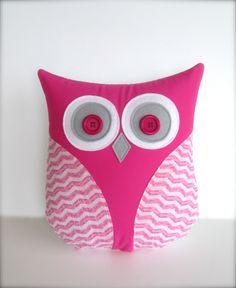 pink and white owl pillow, decorative pillow, pink and white chevron owl, nursery pillow, Easter gift  by whimsysweetwhimsy, READY TO SHIP. $35.00, via Etsy.