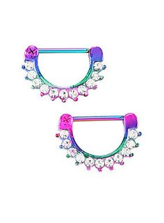 <p>A pair of 316L surgical steel rainbow anodized nipple clickers with clear CZ accent gems.</p>  <ul> <li>316L surgical steel</li> <li>14G</li> <li>Imported</li> </ul>