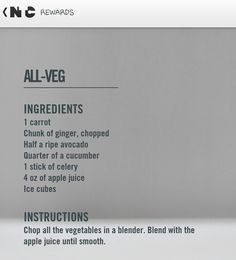 Nike training club reward- all veg smoothie recipe