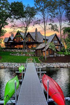 Nadire Atas Lakeside Living Exterior image from a Stonewood LLC custom home build Custom Home Builders, Custom Homes, Haus Am See, Lake Cabins, Log Homes, My Dream Home, Dream Homes, Exterior Design, Future House