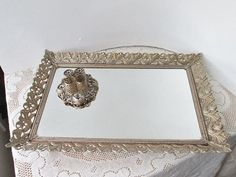 Perfume Holder Tray | Vanity Mirror Tray and Lipstick Holder gold metal Filigree Perfume ...