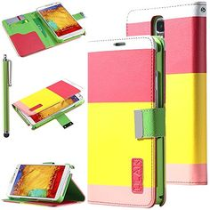 Note 3 Case, Galaxy Note 3 Wallet Case - ULAK Galaxy Note 3 Colorful PU Leather Wallet Magnet Flip Case Cover for Samsung Galaxy Note 3 Note III N9000 with Stylus and Screen Protector lanyard (Red+Yellow+Pink) ULAK http://www.amazon.com/dp/B00HJ1BV2E/ref=cm_sw_r_pi_dp_zKGkub17Q1X7G
