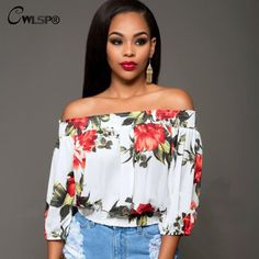 Floral Prited blouse shirt Womens Three quarter Slash Neck Loose Crop Tops