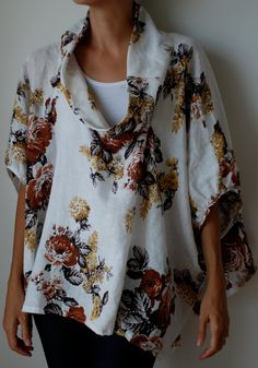 Fall colours floral loose fit linen smock frock / top. Chocolate, rust, gold, taupe, cream. Plus size and maternity. One size fits all