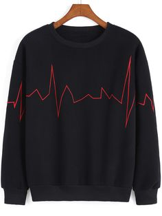Shop Black Round Neck ECG Print Sweatshirt online. SheIn offers Black Round Neck ECG Print Sweatshirt & more to fit your fashionable needs.