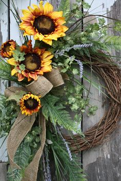 Could totally make this myself and save tons o' $ - Summer Wreath Sunflowers Fern Varigated by sweetsomethingdesign, $95.00