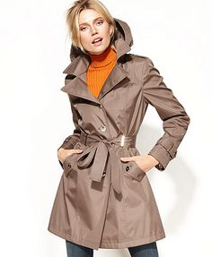 Hooded Belted Trench - Macy's FA13 Great option for skirt or trouser outfits.