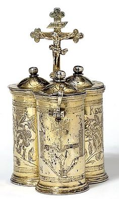 Chrismatory as used by priests in the past. Each compartment held oil for sacramental purposes such as confirmation or anointing the ill. ... http://corjesusacratissimum.org/2010/10/the-secret-joy/