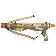 Camo Crossbow by Marshmallow Fun Co. $25.98. outdoor- indoor play. Shoots Large marshmallows 30 ft. Dishwasher safe. year around fun for all seasons. Fun for all ages. From the Manufacturer Camo Crossbow Product Description Fun - filled Marshmallow Camo Shooters. These zippy Camo Marshmallow Shooters trigger loads of laughter and fun. Set your sights on the target and launch a succession of harmless ma...