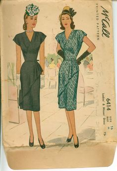 1940s Sewing Pattern GORGEOUS Dress with Wrap by shellmakeyouflip, $36.00