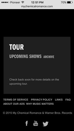 HOLY SHIT DECEMBER 28th 2015 THIS WAS ON THE SITE My Chemical Romance, Emo Bands, Warner Bros, Privacy Policy, Terms Of Service, Lyrics, Ads, Music, Center Stage