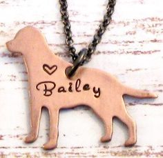 Hand Stamped Copper Personalized Labrador Retriever Necklace - Lab Jewelry, Dog Necklace on Etsy, $22.00