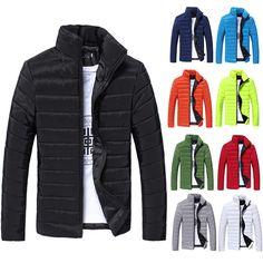 184570c04d4 Mens Warm Stand Collar Down Jacket Parka Coat Slim Winter Zipper Coat  Outwear