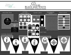 Glam Black and White Printable Party Decor by GreenBeansieInk, $39.00