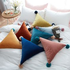 Simple ball tassel triangle pillow sofa bed car cushion soft colors pillow seat throw back cushion home almofada coussin _ {categoryName} - AliExpress Mobile Version - Sewing Pillows, Diy Pillows, Cushions On Sofa, Decorative Pillows, Sofa Bed, Couch, Handmade Pillows, Velvet Pillows, Pillow Dress