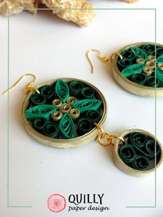 """Paper earrings """"Arabesco_06"""" green version, by QuillyPaperDesign www.quillypaperdesign.com"""
