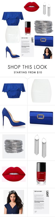 """Blue mood"" by fouzv ❤ liked on Polyvore featuring Miss Selfridge, Christian Louboutin, Roger Vivier, Avenue, Chanel, Banned and Urban Outfitters"