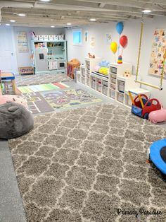 Basement playroom ideas that inspire imaginative play for toddlers, pre-schools, and elementary age kids! Basement playroom ideas that inspire imaginative play for toddlers, pre-schools, and elementary age kids! Basement Daycare Ideas, Unfinished Basement Playroom, Ikea Kids Playroom, Kids Basement, Toddler Playroom, Playroom Organization, Playroom Design, Basement Bedrooms, Playroom Decor