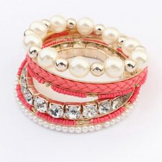 Roze armband bracelet parels pearls pearl pink gold sieraden jewelry