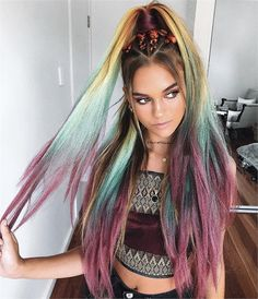 On Fire with Festival Hair: Coachella Made This Stylist's Dreams Come True - Career - Modern Salon Purple Ombre, Ombre Hair Color, Cool Hair Color, Hair Colors, Fire Ombre Hair, Pretty Hairstyles, Bob Hairstyles, Braided Hairstyles, Rave Hair
