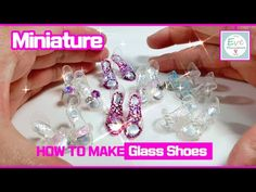 How to make miniature Glass Shoes for Barbie doll, 미니어쳐 바비인형 유리구두 만드는 방법(레진 & 폴리머클레이) Subtitle - YouTube Sewing Barbie Clothes, Barbie Dolls Diy, Barbie Doll House, Diy Doll, Barbie Doll Accessories, Barbie Shoes, Doll Shoes, Barbie Patterns, Doll Clothes Patterns