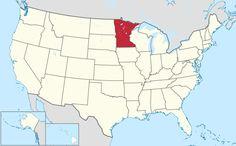 Yhdysvaltain kartta, jossa Minnesota korostettuna