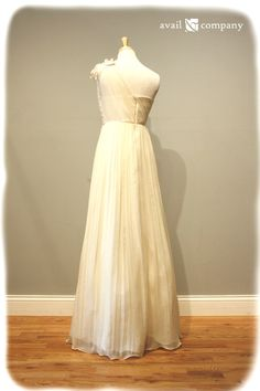 Simple Wedding Dress Chiffon Lace and Leaf Detail by AvailCo