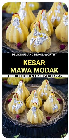 Kesar Mawa Modak is the perfect way to celebrate the festival of Ganesh Chaturthi. Whether you're a fan of melt-in-your-mouth dessert or chewy treats- this sweet delivers everything in one bite! #ganeshchaturthi #modakrecipe #kesarmawamodak Great Desserts, Healthy Dessert Recipes, Delicious Desserts, Yummy Food, Healthy Treats, Vegetarian Recipes, Indian Veg Recipes, Indian Desserts, Modak Recipe