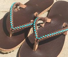 Genuine Handmade Bohemian Leather Flip Flops Sandals Decorated with Turquoise Stone Beads - 100% Handmade.  You can decorate your hands, ears, neck & now also … your feet! So … take a walk on the wild side.  These flip flop sandals are not only stylish but they are also extremely comfortable.  This specific pair is based on high quality brown leather & decorative turquoise stone beads which is guaranteed to last a lifetime. Each pair of my leather sandals is handmade from thick natura...