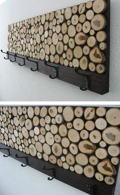 Woodpile Wall Art with Accessory Hangers