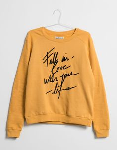 BSK text print plush sweatshirt - Sweatshirts - Bershka United Kingdom