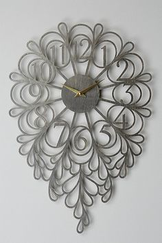 WOW. This is stunning! Only $168 at Anthro... I will DIY if I can figure out how.   Gatehouse Wall Clock, Dangling Numbers #anthropologie