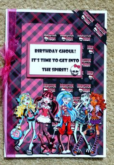 This birthday themed card was made using coordinating Monster High patterned cardstock papers and a paper stacking technique to give this card a 3D appearance . Monster High character digital art, ribbon and other decorative elements added the final touches to this card. Card measures approximately 5 x 7, opens from the right, is blank inside and comes with an envelope. Add your own sentiment or contact me to add a sentiment on the inside for a professional look.