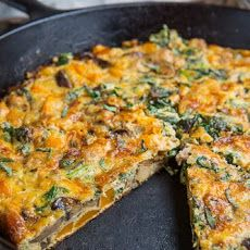 Butternut Squash, Mushroom, Kale and Sausage Frittata Recipe Breakfast and Brunch with sausage casings, oil, butternut squash, oil, onion, mushrooms, kale, sage, eggs, milk, gruyere cheese, pepper, salt